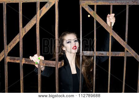 Woman Near  Iron Gate