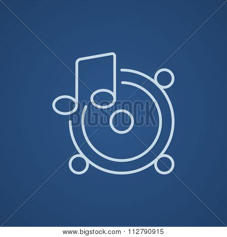 Loudspeakers with music note line icon for web, mobile and infographics. Vector light blue icon isolated on blue background.