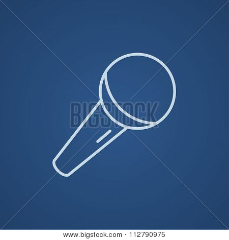 Microphone line icon for web, mobile and infographics. Vector light blue icon isolated on blue background.