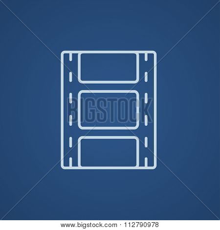 Negative line icon for web, mobile and infographics. Vector light blue icon isolated on blue background.