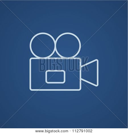 Video camera line icon for web, mobile and infographics. Vector light blue icon isolated on blue background.