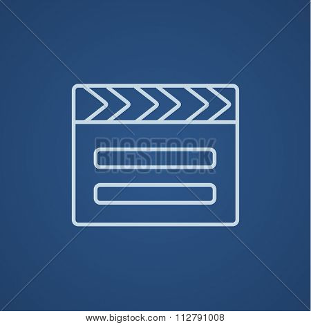 Clapboard line icon for web, mobile and infographics. Vector light blue icon isolated on blue background.
