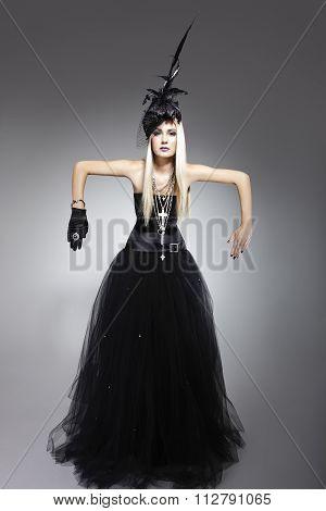 Model Wearing A Bohemian Dress