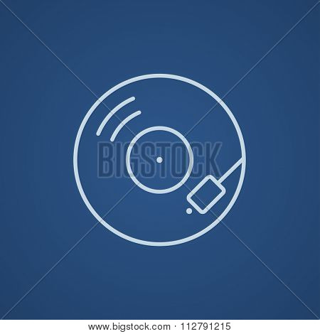 Turntable line icon for web, mobile and infographics. Vector light blue icon isolated on blue background.