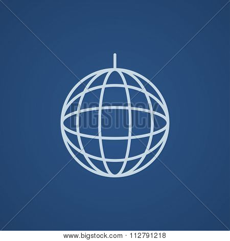 Disco ball line icon for web, mobile and infographics. Vector light blue icon isolated on blue background.