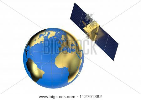 Gps Satellite And Earth
