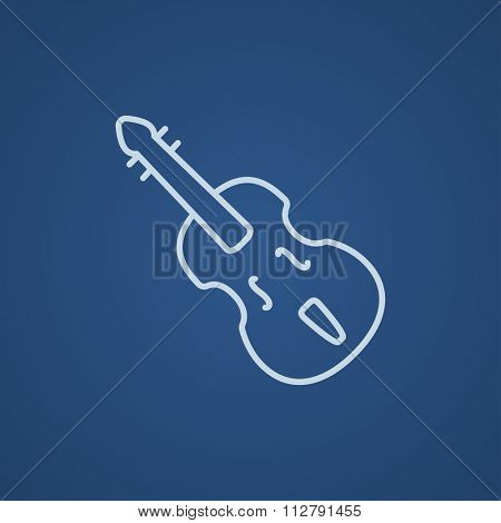 Cello line icon for web, mobile and infographics. Vector light blue icon isolated on blue background.