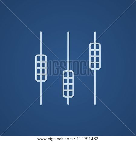Sound mixer console line icon for web, mobile and infographics. Vector light blue icon isolated on blue background.