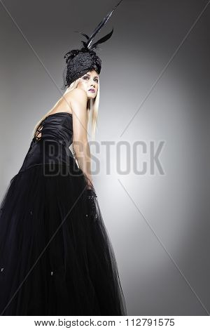 Model Posing With A Long Bohemian Dress