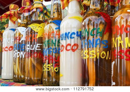 Assortment Of Rhum Bottles At The Market