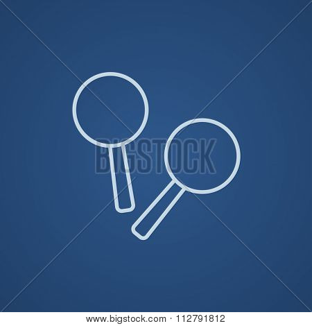 Maracas line icon for web, mobile and infographics. Vector light blue icon isolated on blue background.
