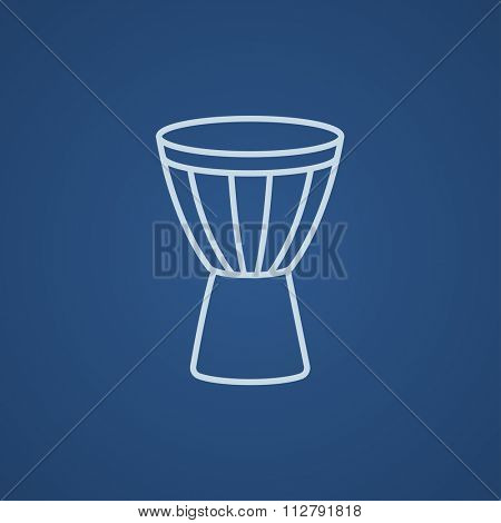 Timpani line icon for web, mobile and infographics. Vector light blue icon isolated on blue background.