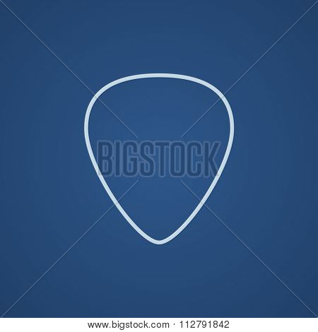 Guitar pick line icon for web, mobile and infographics. Vector light blue icon isolated on blue background.