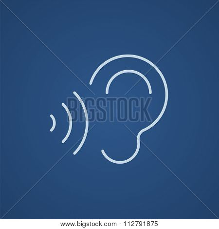 Ear and sound waves line icon for web, mobile and infographics. Vector light blue icon isolated on blue background.