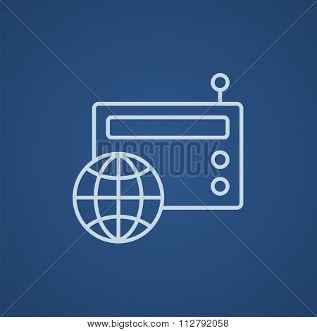 Retro radio with globe line icon for web, mobile and infographics. Vector light blue icon isolated on blue background.