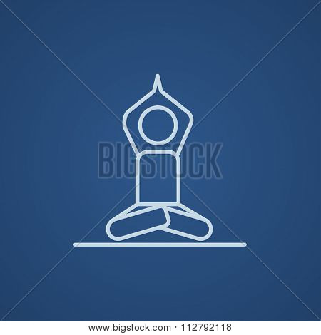 A man meditating in lotus pose line icon for web, mobile and infographics. Vector light blue icon isolated on blue background.