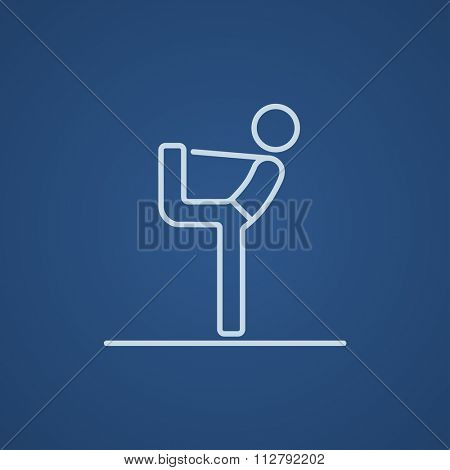 Man in yoga pose nataradzhasana line icon for web, mobile and infographics. Vector light blue icon isolated on blue background.