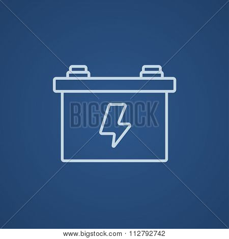 Car battery line icon for web, mobile and infographics. Vector light blue icon isolated on blue background.