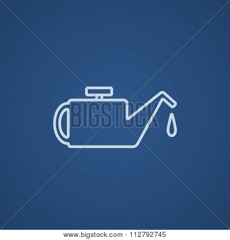 Oiler line icon for web, mobile and infographics. Vector light blue icon isolated on blue background.