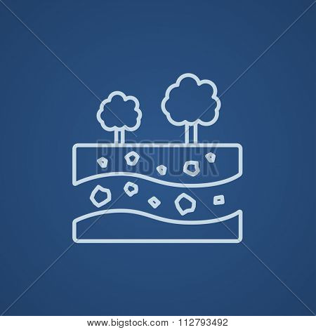 Cut of soil with different layers and trees on top line icon for web, mobile and infographics. Vector light blue icon isolated on blue background.