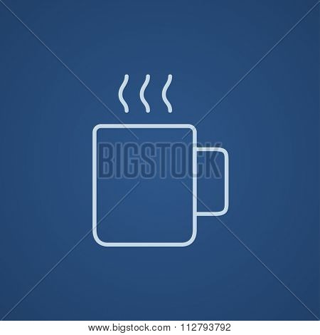 Mug of hot drink line icon for web, mobile and infographics. Vector light blue icon isolated on blue background.
