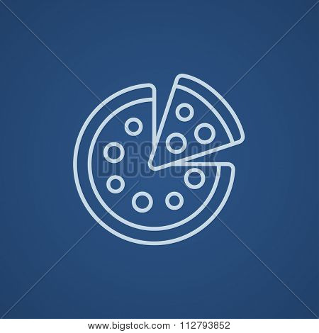 Whole pizza with a slice line icon for web, mobile and infographics. Vector light blue icon isolated on blue background.
