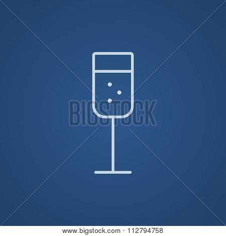 Glass of champagne line icon for web, mobile and infographics. Vector light blue icon isolated on blue background.