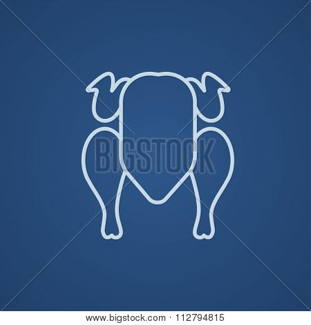 Raw chicken line icon for web, mobile and infographics. Vector light blue icon isolated on blue background.