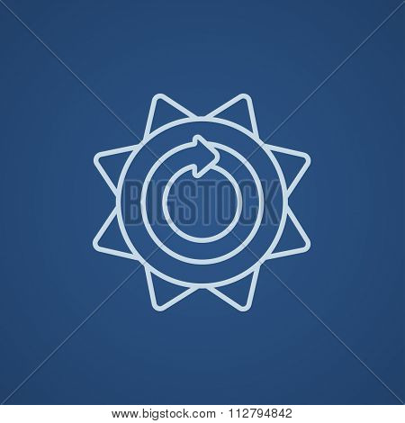 Sun with round arrow line icon for web, mobile and infographics. Vector light blue icon isolated on blue background.