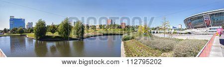 Donetsk, Ukraine - August 22, 2015: Park near the stadium Donbass Arena Donetsk