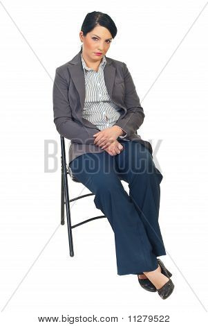 Sad  Business Woman On Chair