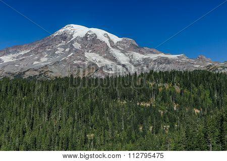 Mount Rainier on a sunny blue sky day