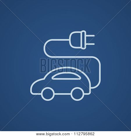 Electric car line icon for web, mobile and infographics. Vector light blue icon isolated on blue background.
