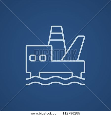 Offshore oil platform line icon for web, mobile and infographics. Vector light blue icon isolated on blue background.