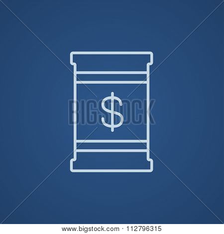 Barrel with dollar symbol line icon for web, mobile and infographics. Vector light blue icon isolated on blue background.