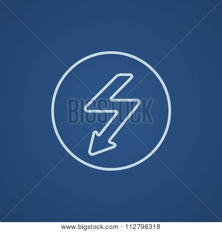 Lightning arrow going down inside circle line icon for web, mobile and infographics. Vector light blue icon isolated on blue background.