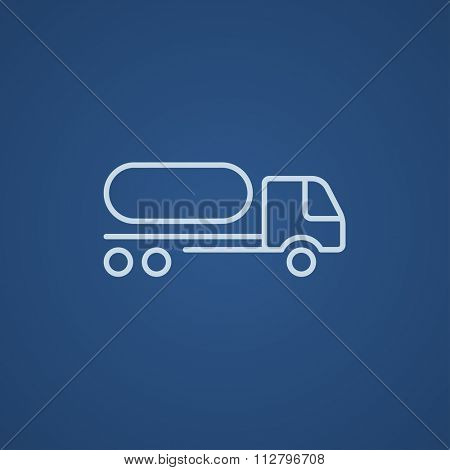 Fuel truck line icon for web, mobile and infographics. Vector light blue icon isolated on blue background.
