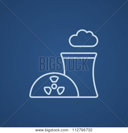Nuclear power plant line icon for web, mobile and infographics. Vector light blue icon isolated on blue background.