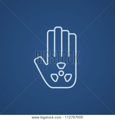 Ionizing radiation sign on a palm line icon for web, mobile and infographics. Vector light blue icon isolated on blue background.
