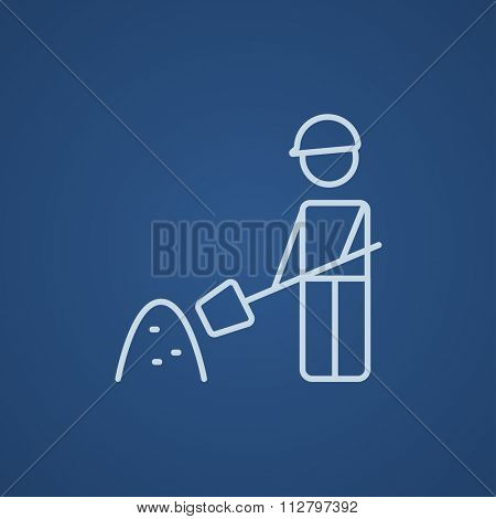 Man with shovel and hill of sand line icon for web, mobile and infographics. Vector light blue icon isolated on blue background.