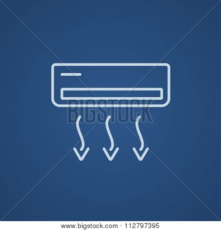 Air conditioner line icon for web, mobile and infographics. Vector light blue icon isolated on blue background.