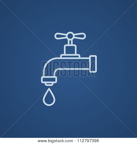 Dripping tap with drop line icon for web, mobile and infographics. Vector light blue icon isolated on blue background.
