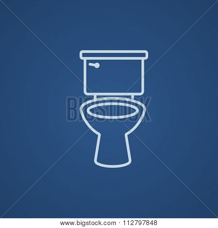 Lavatory bowl line icon for web, mobile and infographics. Vector light blue icon isolated on blue background.
