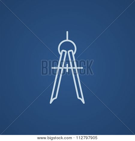 Compass line icon for web, mobile and infographics. Vector light blue icon isolated on blue background.