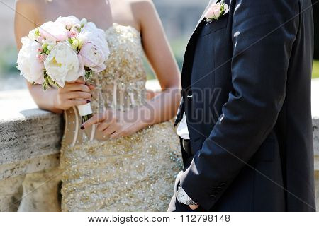 Bride And Groom In Wedding Day In Rome, Italy