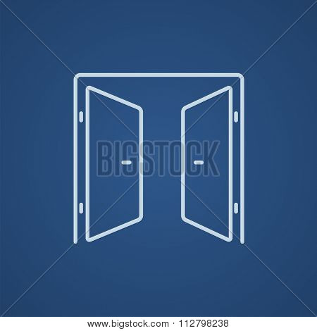 Open doors line icon for web, mobile and infographics. Vector light blue icon isolated on blue background.