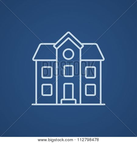 Two storey detached house line icon for web, mobile and infographics. Vector light blue icon isolated on blue background.