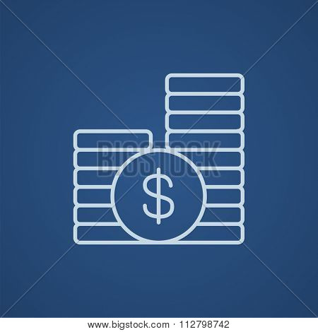 Dollar coins line icon for web, mobile and infographics. Vector light blue icon isolated on blue background.