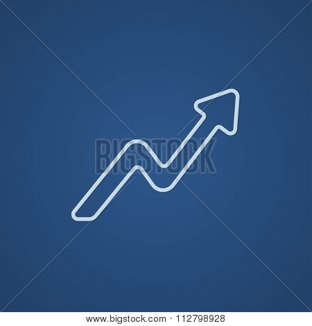 Arrow upward line icon for web, mobile and infographics. Vector light blue icon isolated on blue background.