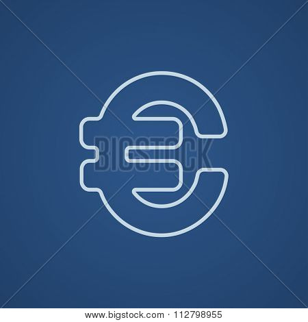 Euro symbol line icon for web, mobile and infographics. Vector light blue icon isolated on blue background.